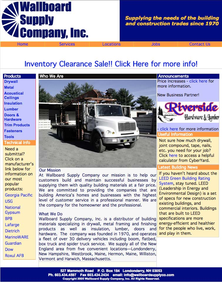 Wallboard Supply Company Website Before Redesign